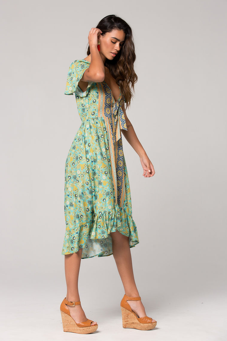 Dublin Floral Print Surplice Dress Side 2