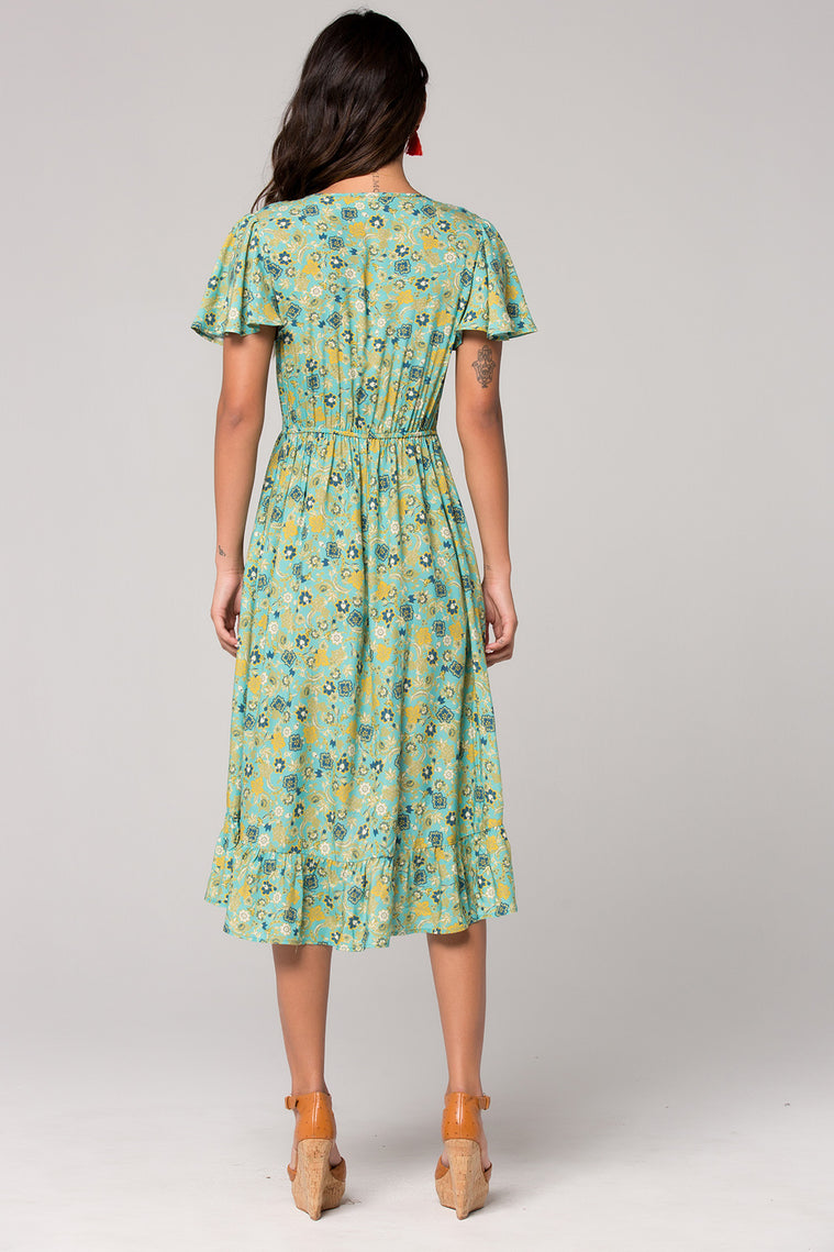 Dublin Floral Print Surplice Dress Back