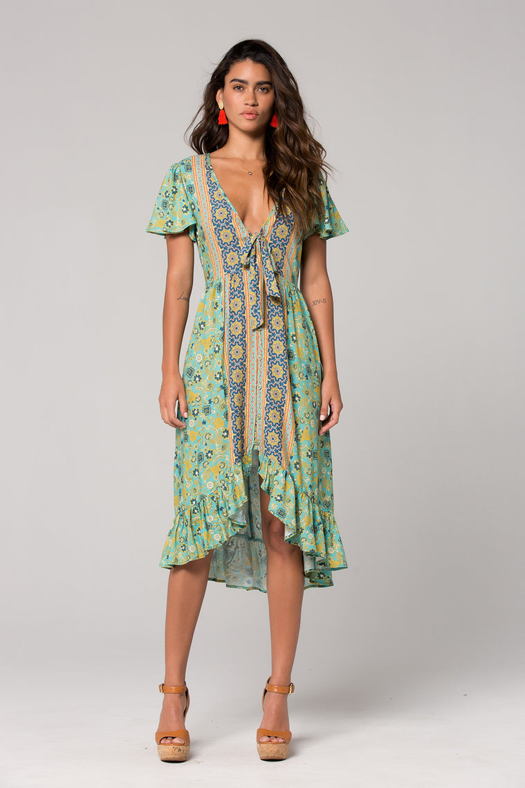 Dublin Floral Print Surplice Dress Front Detail