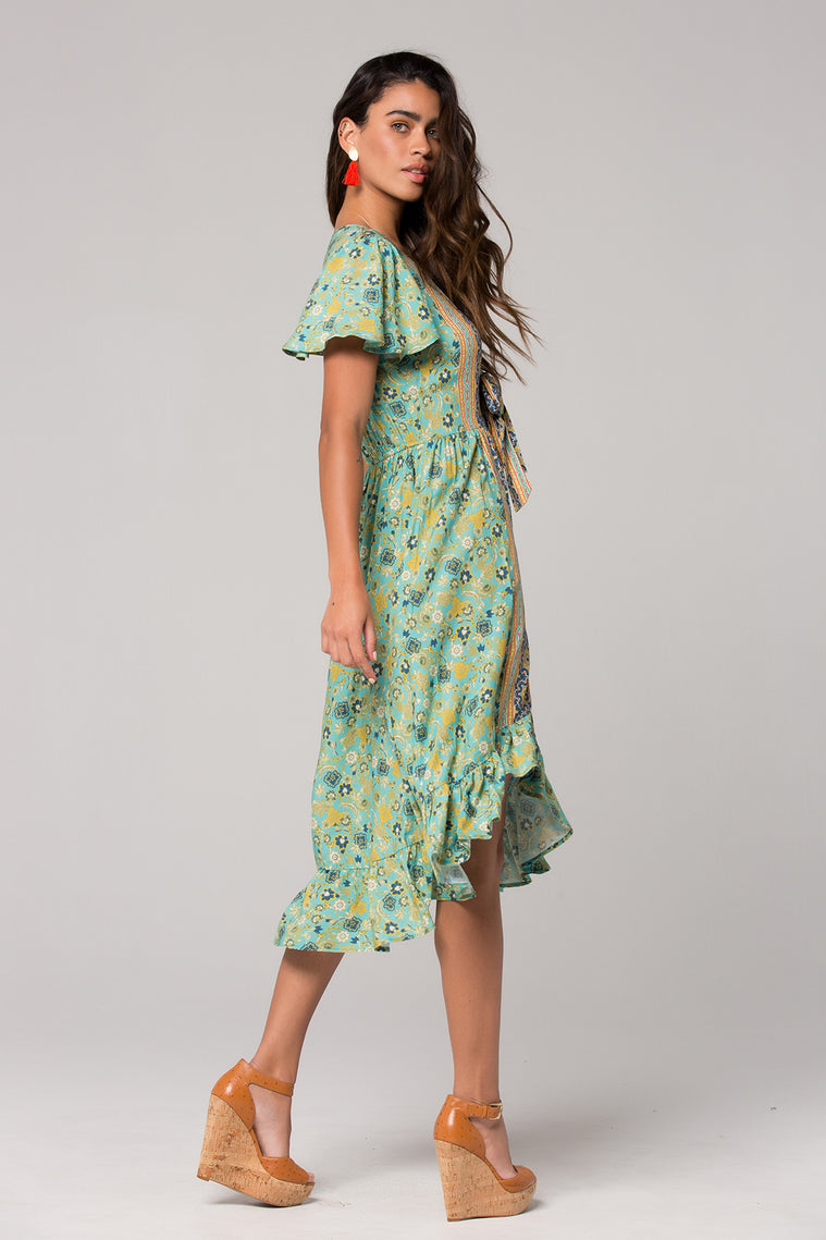 Dublin Floral Print Surplice Dress Back 2