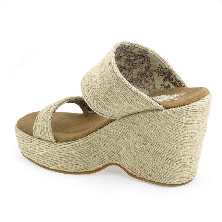Dusk Vegan Mini Rope Natural Wedge Slide Sandal Back