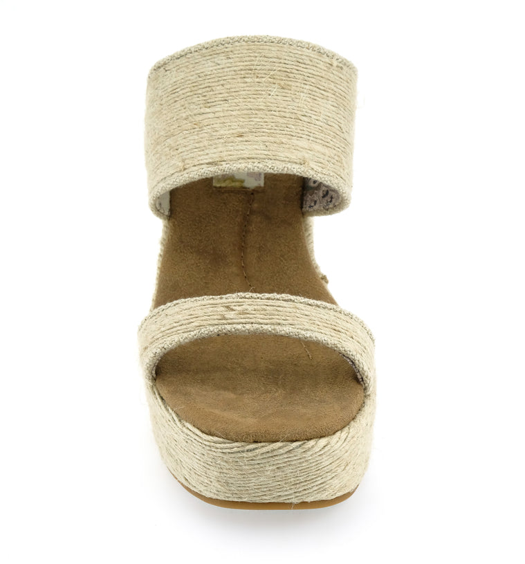Dusk Vegan Mini Rope Natural Wedge Slide Sandal Detail