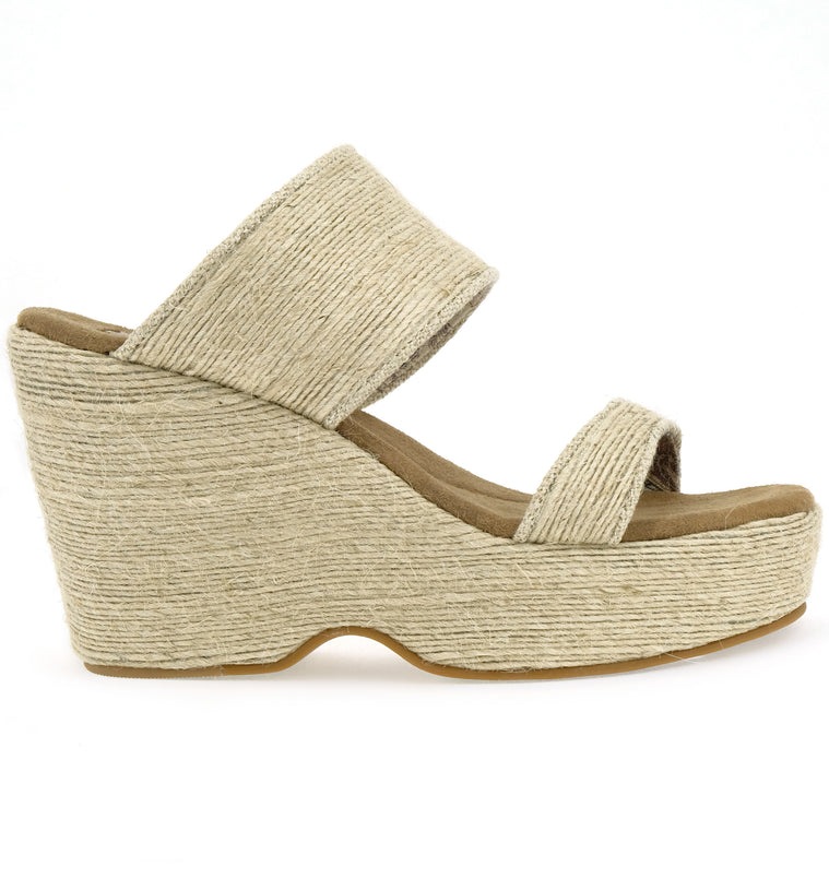 Dusk Vegan Mini Rope Natural Wedge Slide Sandal Side