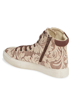 Eagle Faux Fur Damask Beige High Top Sneaker Back