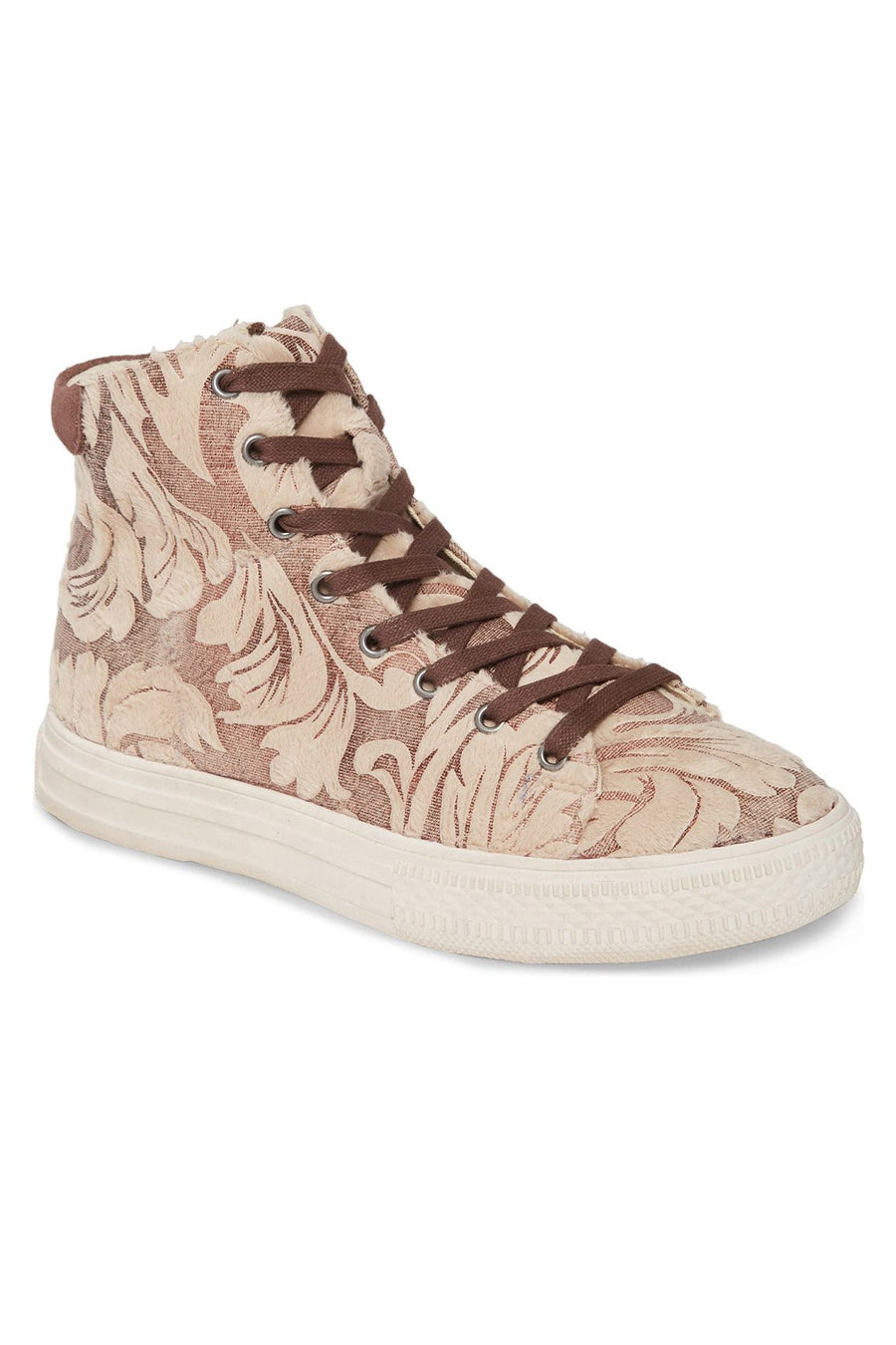 Eagle Faux Fur Damask Beige High Top Sneaker