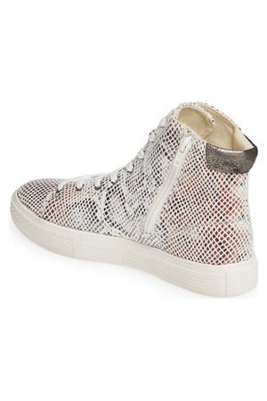 Eagle Micro Snake Print White High Top Sneaker Back