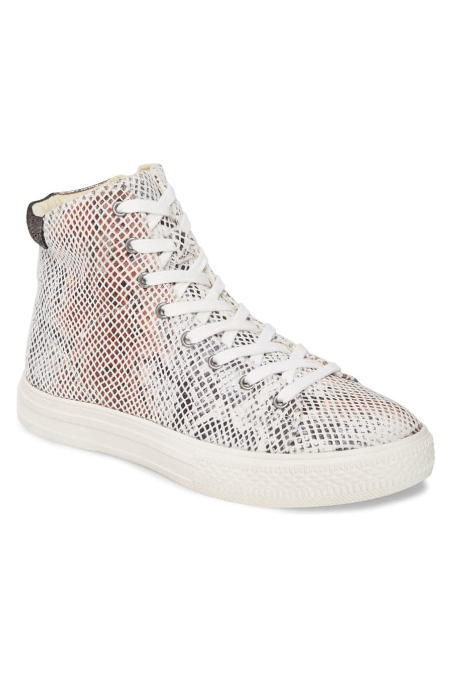 Eagle Micro Snake Print White High Top Sneaker