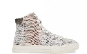 Eagle Micro Snake Print White High Top Sneaker Side