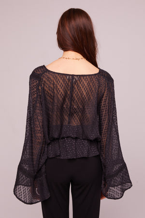 Electrice Ave Sheer Faux Wrap Blouse Back