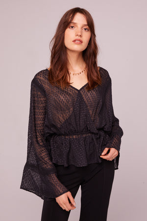 Electrice Ave Sheer Faux Wrap Blouse Front