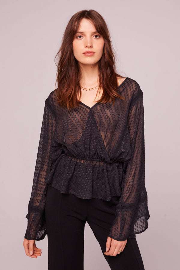 Electrice Ave Sheer Faux Wrap Blouse Master