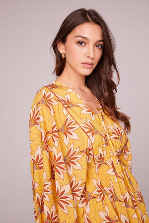 Ella Golden Batwing Mini Dress Detail