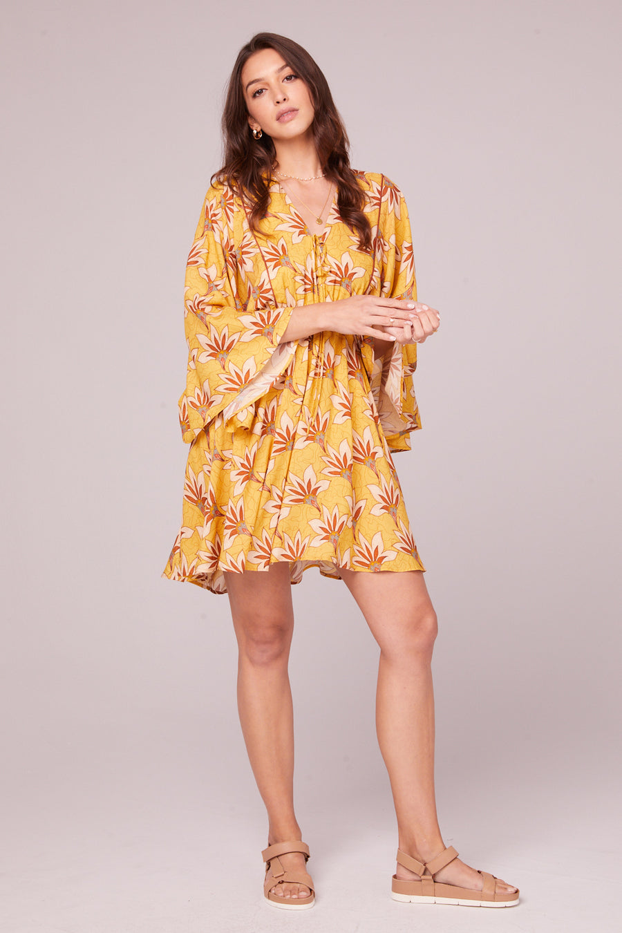 Ella Golden Batwing Mini Dress