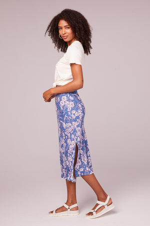 Emmy Amethyst Floral Bias Slip Skirt Side