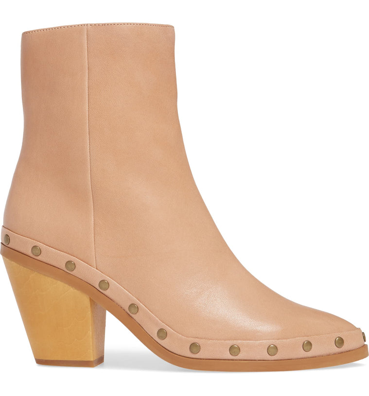 Empire Natural Leather Studded Booties