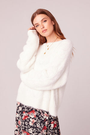 Enchante White Crew Neck Sweater
