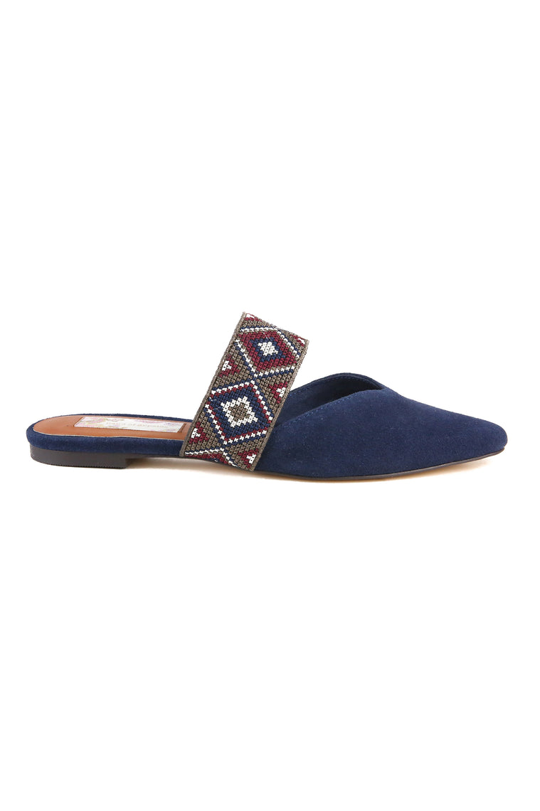 Enchanted Navy Suede Mule Side