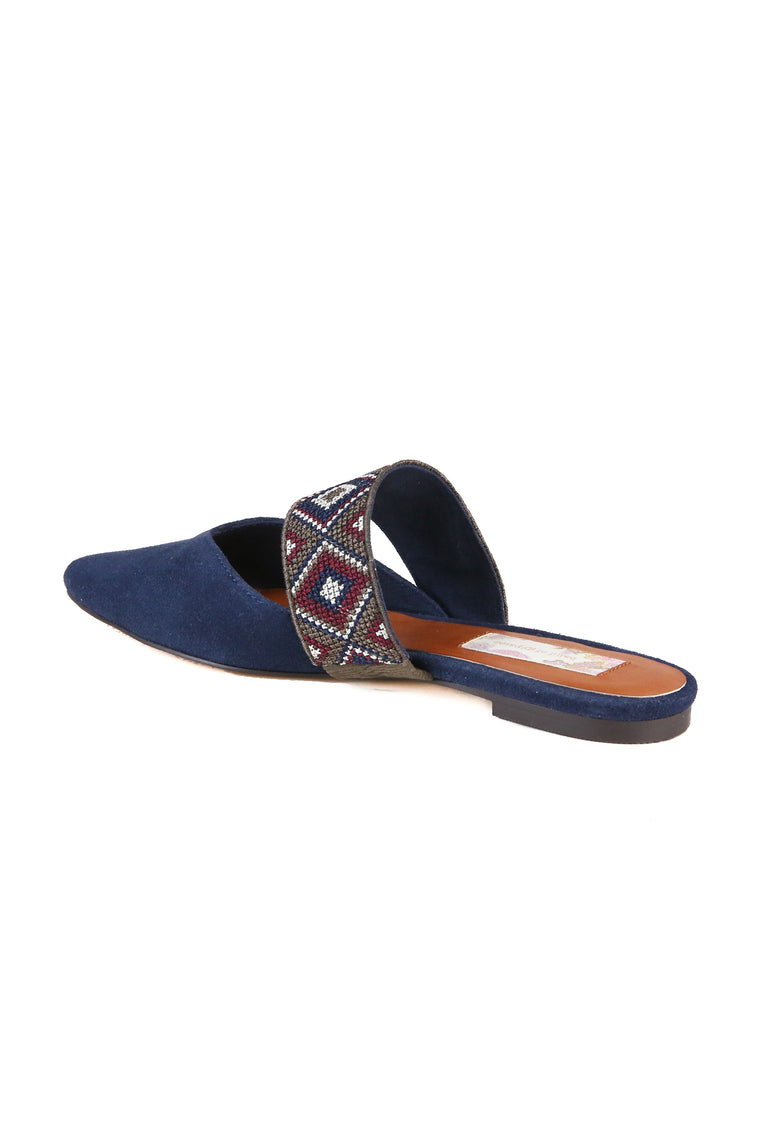 Enchanted Navy Suede Mule Back