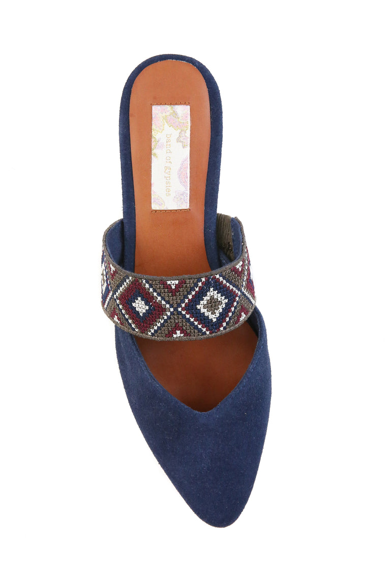 Enchanted Navy Suede Mule Detail