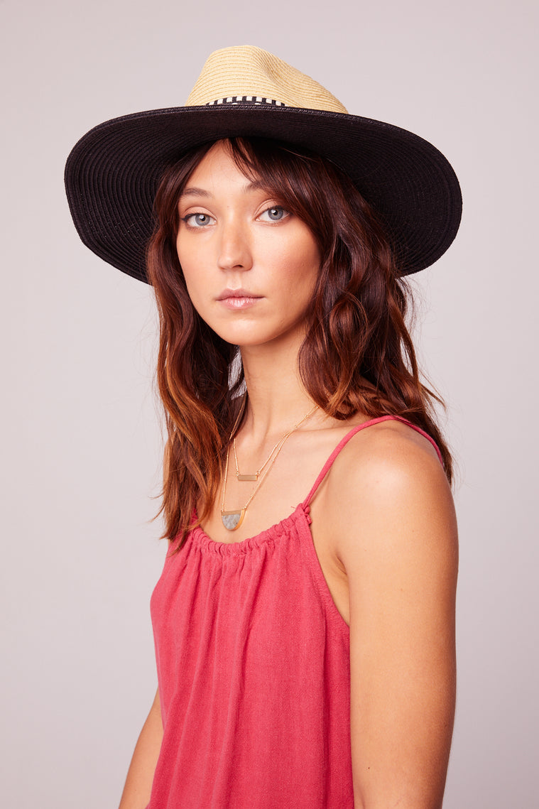 Escape Black Jacquard Trim Fedora Sun Hat Master