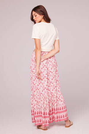 Esmee Coral Border Print Maxi Skirt Back