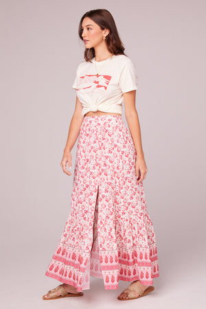 Esmee Coral Border Print Maxi Skirt Side