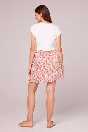 Estelle Floral Faux Wrap Mini Skirt Back