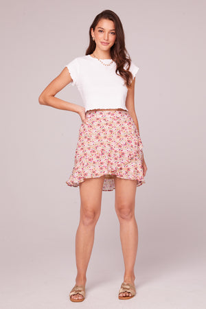 Estelle Floral Faux Wrap Mini Skirt Front