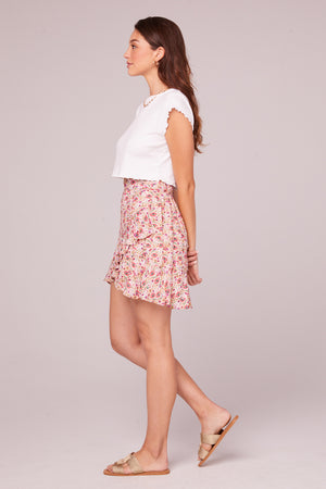 Estelle Floral Faux Wrap Mini Skirt Side