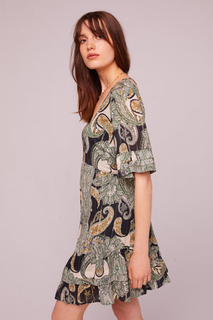 Euclid Paisley Short Sleeve Mini Dress