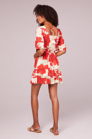 Euclid Red Poppy Short Sleeve Mini Dress Back
