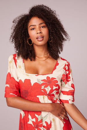 Euclid Red Poppy Short Sleeve Mini Dress Detail