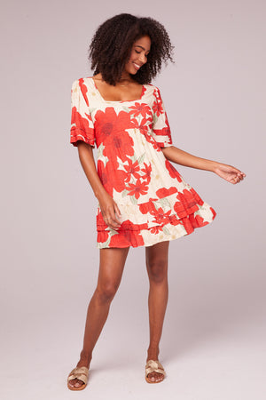 Euclid Red Poppy Short Sleeve Mini Dress Front