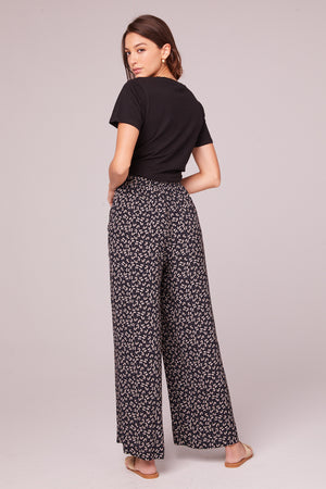 Eve Black Floral Wide Leg Pants Back