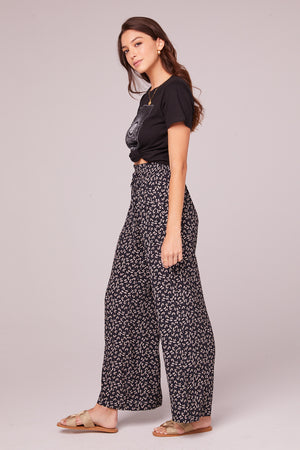 Eve Black Floral Wide Leg Pants Side