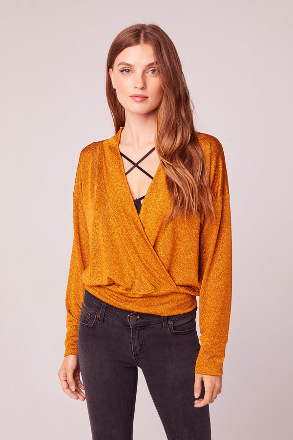 Excuse Moi Gold Metallic V Neck Top