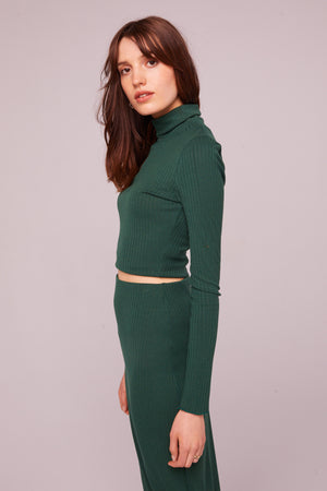 Fairfax Ribbed Turtleneck Crop Top Side