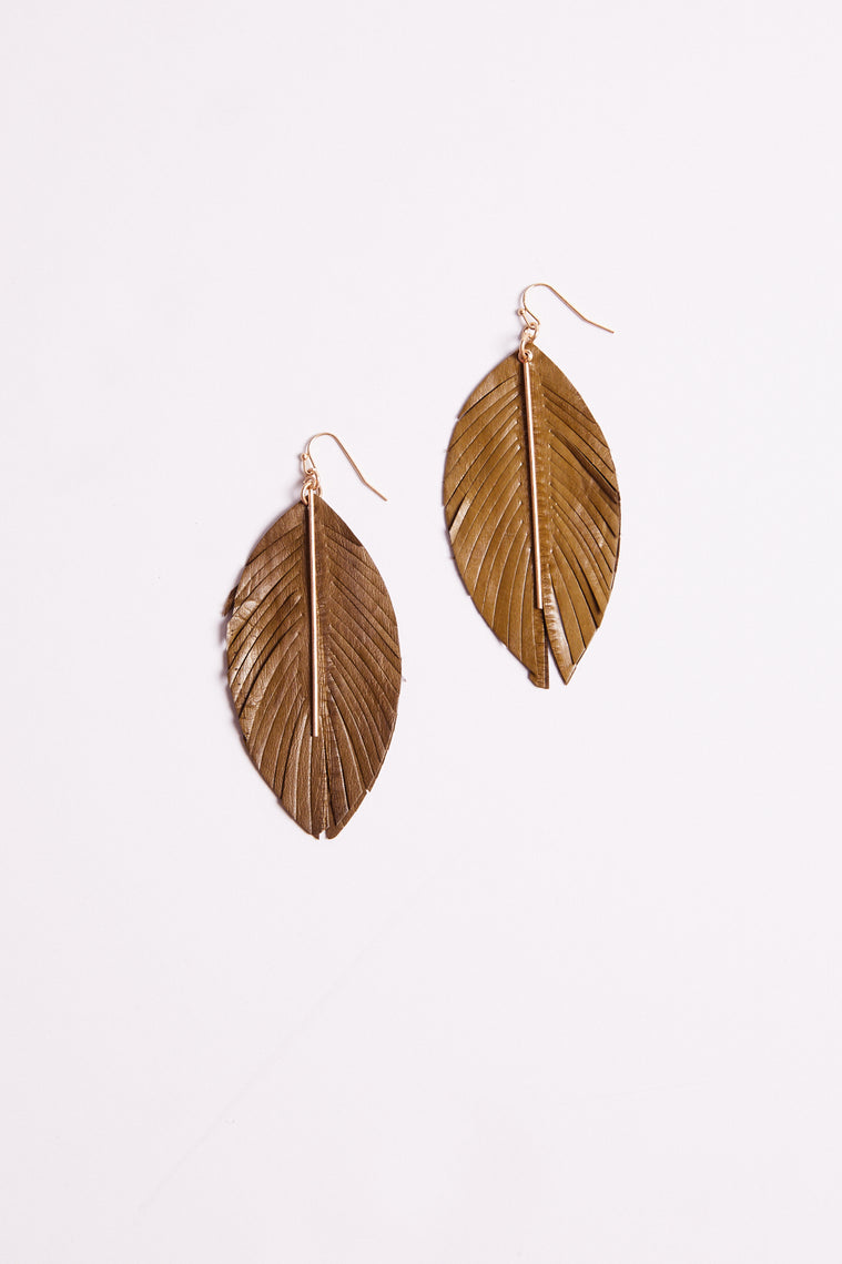 Falcon Feather Drop Sage Earrings Detail