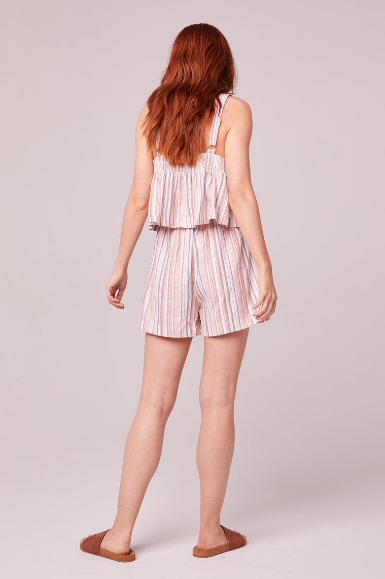 Florence Orange Stripe Shorts Back