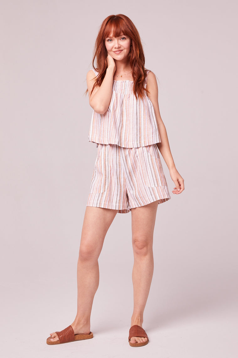 Florence Orange Stripe Shorts Front