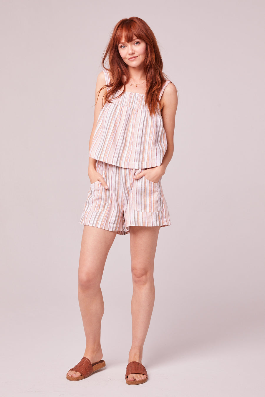 Florence Orange Stripe Shorts Master