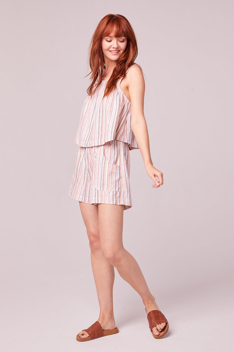 Florence Orange Stripe Shorts Side2