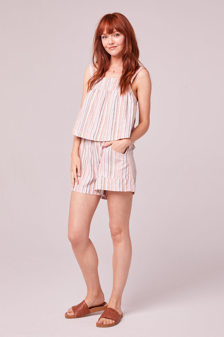 Florence Orange Stripe Shorts Side