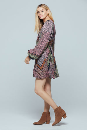 Formentera Lavender Ditsy Floral Print Mini Dress