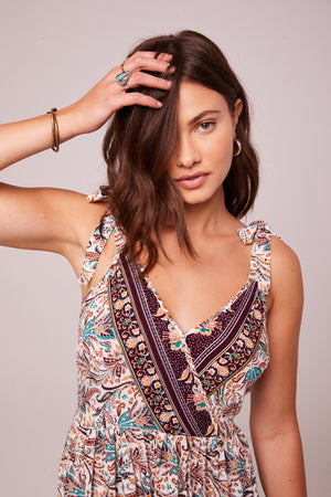 Funkytown Plum Border Print Mini Dress Detail