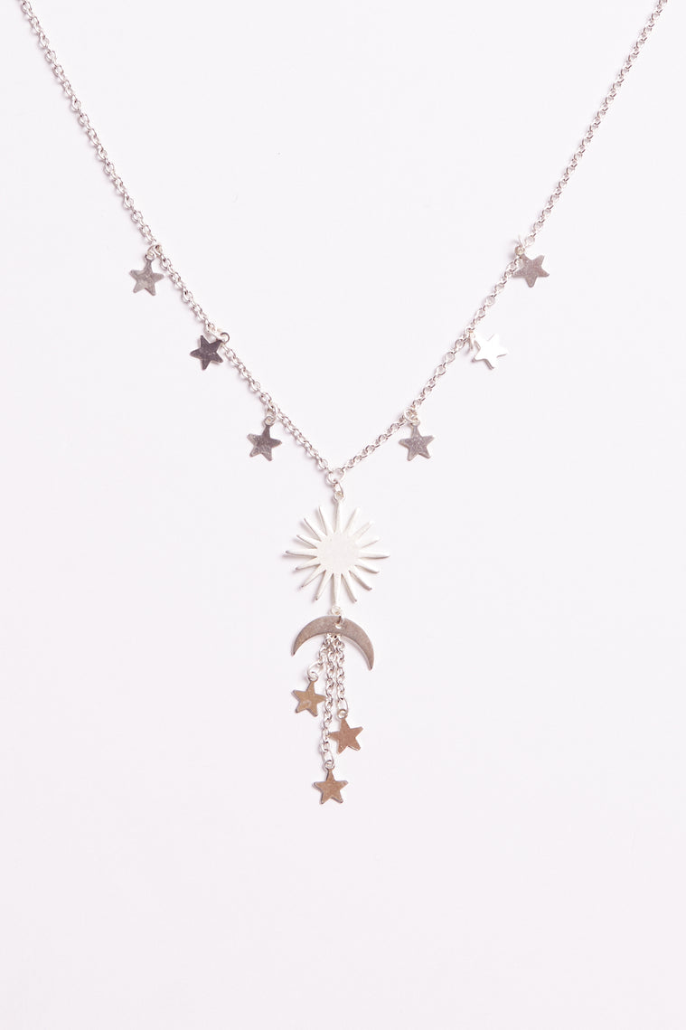Galaxy Silver Sun Moon Necklace Master