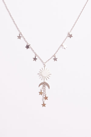 Galaxy Silver Sun Moon Necklace Detail