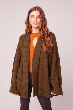 Gargon Olive Green Oversized Cardigan Sweater