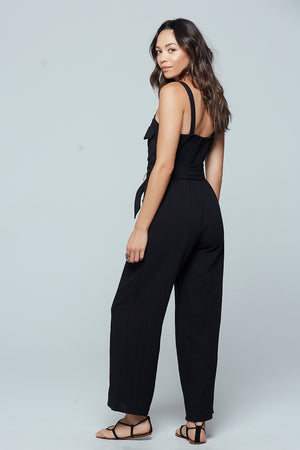 Geneva Black Sleeveless Jumpsuit Back