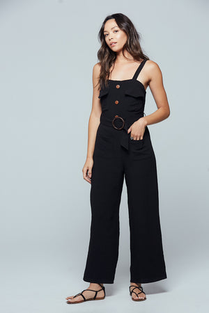 Geneva Black Sleeveless Jumpsuit Detail 2